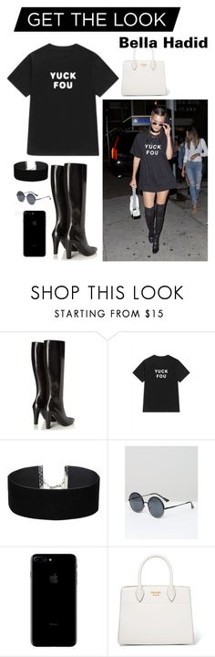 """Get the look."" by sunshinelarry ❤ liked on Polyvore featuring Yves Saint Laurent, WithChic, Miss Selfridge, A.J. Morgan and Prada"