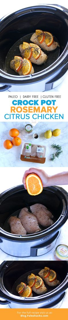 This Rosemary Citrus Chicken recipe offers savory and bright flavors that make for an elegant meal. The best part: Your slow cooker does all the work! For the full recipe visit us here: paleo.co/... #paleohacks #paleo