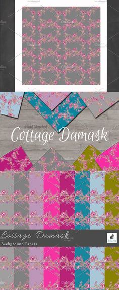 """""""Cottage Damask"""" Background Papers Collection This feminine floral cottage damask pattern was made from my hand-sketched floral wreaths. They have a delicate Damask Patterns, Hand Sketch, Background For Photography, Paper Background, Design Projects, Your Design, Photo Editing, Floral Wreath, Delicate"""