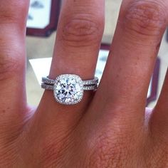 Round prong set in radiant micro pave setting engagement diamond ring
