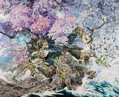 Manabu Ikeda create an image - Rebirth, solid cherry blossom growing from bloodshed (natural disasters). Ikeda-san worked 10 hours a day, six days a week for three and a half years in this painting ... 13x10-foot piece