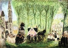 Funeral in Senlis Nils Dardel (1913) Private collection Painting - oil on canvas