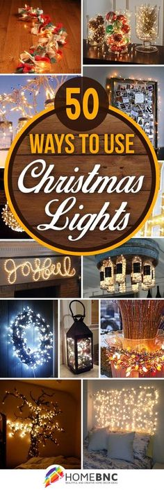 Vintage Decor Diy Christmas Lights Decorations - One of the best ways to create holiday ambiance is with strings of warm yellow or blue-white Christmas lights, indoors and out. Diy Christmas Light Decorations, Centerpiece Christmas, White Christmas Lights, Noel Christmas, Christmas Projects, Simple Christmas, Holiday Crafts, Christmas Ideas, Diy Outdoor Christmas Decorations
