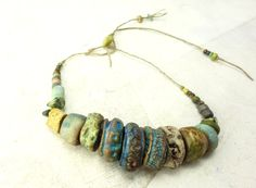 RESERVED Artisan Ceramic BeadS Large collection rock pool blues green rust sea rock lichen nature scotla