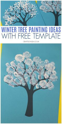 winter tree painting ideas for kids with free template wintercrafts kidscrafts preschool crafts 517702919663501251 Kids Crafts, Tree Crafts, Snow Crafts, Crafts With Toddlers, Pre School Crafts, Easy Crafts, Insect Crafts, Felt Crafts, Winter Activities For Kids