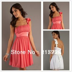 New Arrival Short One Shoulder Sleeveless Chiffon Bridesmaid Dresses Coral Color BN005 $57.00