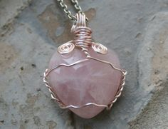 Rose Quartz Stone Heart Wire Wrapped Pendant  by CrystalLuvJewelry