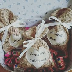100 X Personalised Wedding Hessian Favour Gift Bags Rustic Gifts Jute