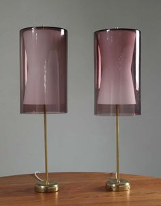 Tapio Wirkkala; Table Lamps for Idman, Glass shades made by Iittala, 1950s.