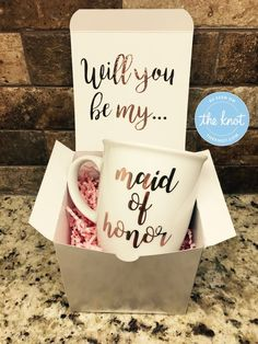 Maid of Honor or Bridesmaid Proposal Gift Box Set The list contains: 1 – 5 x 5 x 5 box (will be delivered flat and must be assembled) 1 – Coffee Cup – 10 fluid ounces SEND TO THE BRIDE RECEIVER ** Please send a message Bridesmaid Mug, Bridesmaid Gift Boxes, Asking Bridesmaids, Bridesmaid Proposal Gifts, Bridesmaids And Groomsmen, Wedding Bridesmaids, Bridesmaid Gifts Will You Be My, Bridesmaid Request Ideas, Groomsmen Proposal