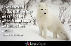 Love takes off masks that we fear we cannot live without and know we cannot live within. - James A. Baldwin at BrainyQuote Mobile