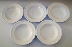 Up for sale are these Mikasa Ultima + Antique White Set Of Five Rimmed Soup Bowls. They are in excellent condition with no chips or cracks. They measure approx. 9 3/8 inches wide. Shipping Excludes: Alaska/Hawaii, US Protectorates, APO/FPO, PO Box Shipping Provided to the United States Only