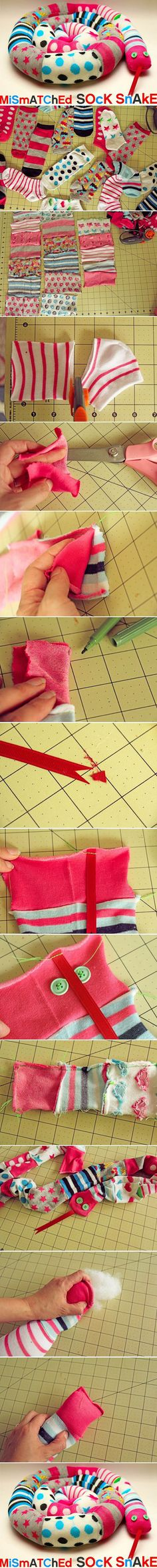 Diy Cute Snake | DIY & Crafts Tutorials REVIEW: This is SUPER cute when completed. We had so many mismatched socks that ours is almost 6 feet long.  One tip is that you should definitely use a sewing machine for the long seam.  Also, leave 2 or 3 gaps in the long seam for stuffing after turning right side out - it is nearly impossible to stuff the whole length of a six-foot snake from just a hole at the end.  Use a hidden stitch to close those gaps once stuffed.