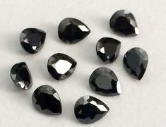 50 Pcs 2x3mm Black Cubic Zirconia Loose Pear by gemsforjewels