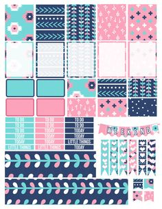 Printable Planner Stickers Aztec Tribal Coral Mint by LaceAndLogos