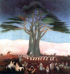 Csontváry Kosztka Tivadar - Pilgrimage to the Cedars in Lebanon, 1907 Oil on canvas, 200 x 205 cm Magyar Nemzeti Galéria, Budapest Oil On Canvas, Canvas Prints, Art Prints, National Gallery, Expressionist Artists, Cedar Trees, Post Impressionism, Art Database, Hanging Art