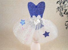 Sparkly Blue Star Cupcake Topper, Ballerina Tutu, Glitter Star Fairy Princess, Tulle Dress Cupcake Topper, Party Decor
