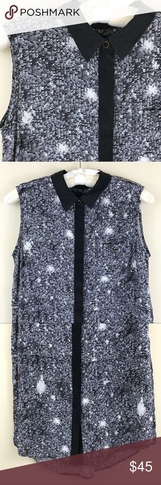 "Marc By Marc Jacobs | Silk Button Down Tank Black 100% silk button down tank top. Collared. Sequins PRINT (not actual sequins). Hi lo hem. Size small; from Marc by Marc Jacobs. No flaws! Bust: 40"" Length: 25"" Marc By Marc Jacobs Tops Blouses"