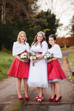 'Retro Red and Polka Dots For A 1950s Style Village Hall Christmas Wedding'.  http://www.lolarosephotography.com/