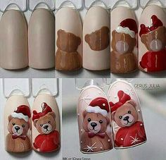 #naildesign #nailart #cutenailart #animalnail #bearnailart