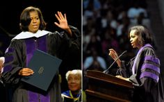 First Lady Michelle Obama speaks to graduates at the North Carolina Agricultural and Technical State University (NCA) Commencement, in Greensboro, NC. Michelle Obama was honored with a Doctorate in Humanities.