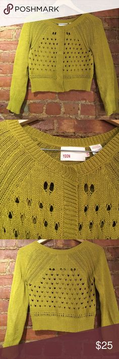 Anthropologie Yoon Cropped Sweater - S Cute cropped sweater - moss green - purchased from Anthropologie, but Yoon brand - good condition - great for spring/summer Anthropologie Sweaters Cardigans