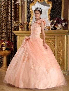 Light Orange Single Shoulder Handmade Flowers Quinceanera Gown