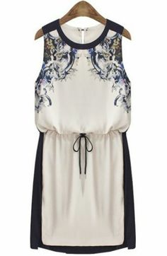 Beige Sleeveless Drawstring Floral Sundress pictures