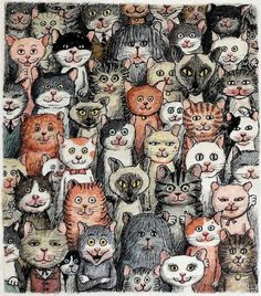 :) Crazy Cats, I Love Cats, Cool Cats, Funny Art, Cat Illustrations, Illustration Art, Here Kitty Kitty, Kitty Cats, Revolution