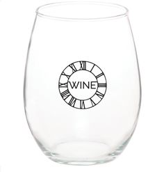 15oz Wine Time stemless wine glass from The Brain Candy Podcast