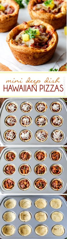 EASY Mini Deep Dish Hawaiian Pizzas baked in premade crescent dinner rolls for an easy buttery, fluffy crust and stuffed with your favorite Hawaiian pizza toppings smothered in a barbecue marinara. Fabulous appetizers or fun family meal and totally custom Pizza Recipes, Snack Recipes, Cooking Recipes, Snacks, Quiches, Good Food, Yummy Food, Deep Dish, Cupcakes