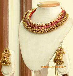 Beautiful Gold Temple Jewellery by Manjula Rao Gold Temple Jewellery, Gold Jewellery Design, India Jewelry, Jewelry Sets, Gold Jewelry, Designer Jewellery, Gold Necklace, Clay Jewelry, Statement Jewelry