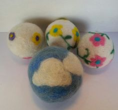 Blue Sky and Flowers  Wool Dryer Balls  Set of by ArtSincerely