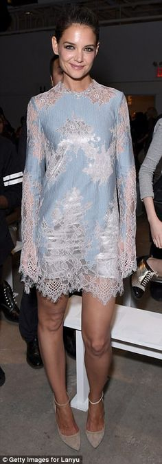 Katie Holmes stuns in pastels mini dress at NYFW | Daily Mail Online