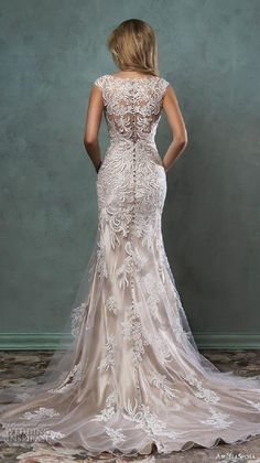 amelia sposa 2016 wedding dresses beautiful cap sleeves v scallop neckline embroidered champagne gold fit flare mermaid dress pia back view -- Top 100 Most Popular Wedding Dresses in 2015 Part 2 Popular Wedding Dresses, 2016 Wedding Dresses, Wedding Attire, Bridal Dresses, Wedding Gowns, Wedding Dressses, Gold Wedding, Wedding Simple, Wedding Rings