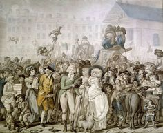 Chaos in Covent Garden: the Westminster Election, 1788. Pen and watercolour drawing by Richard Dighton
