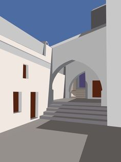 Digital painting , Courtyard at Panormitis Monastery, Symi. Andy Hornby 2015