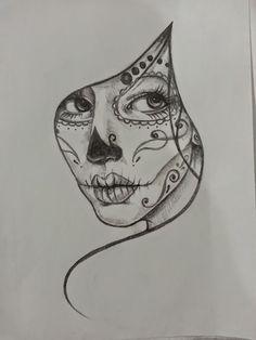 Resultado de imagem para black and white sugar skull girl tattoo