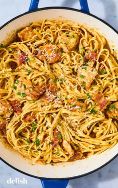 Best-Ever Chicken Carbonara - Recipes - .- Best-Ever Chicken Carbonara – Recipes – Chicken Carbonara Pasta, Italian Chicken Pasta, Chicken Pasta Recipes, Chicken Recipes For Dinner, Italian Chicken Recipes, Shrimp Pasta, Pasta Dishes With Chicken, Easy Italian Recipes, Chicken Pasta