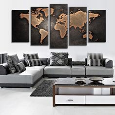 Buy Fine Art Old World Map of Canvas Painting Modern Abstract Wall Art Decor Oil Picture on Canvas for Home Living Room Stickers at Wish - Shopping Made Fun Retro Home Decor, Rooms Home Decor, Diy Home Decor, Bedroom Decor, Art Decor, Bedroom Wall, World Map Painting, World Map Wall Art, World Map Canvas