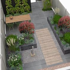 Another great project🏡 Residents want to have their garden elderly-friendly. Another great project🏡 Residents want to have their garden elderly-friendly. I love the cm wood look tiles! Enjoy your evening✨… Back Gardens, Small Gardens, Outdoor Gardens, Courtyard Gardens, Terrace Garden, Backyard Garden Design, Small Garden Design, Backyard Designs, Modern Landscaping