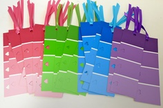 Paint Sample Bookmarks- free paint samples + hole punches+old yard = cute, easy bookmarks!