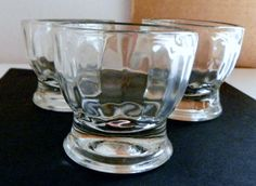 """Vintage Mid Century Clear Glass Set/3 Egg Cup Holders Ribbed Sides 2 1/2"""""""