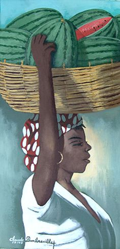 Lady Carrying Watermelons   Claude Dambreville  country of origin: Haiti  15x30 inches (38x76cm)  acrylic on canvas  gold frame   painted 2005