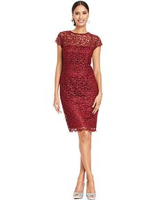 Patra Petite Dress, Cap-Sleeve Glitter Lace Sheath - Petite Dresses - Women - Macy's