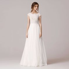 Elegant 2017 A Line Lace Wedding Dress Floor Length Chiffon Tulle vestido de novia Square Neckline Cap Sleeve Robe De Mariage