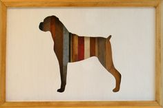"""Boxer dog wood art silhouette with scrap wood - 17"""" by 11"""""""