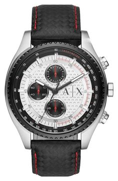 AX Armani Exchange Chronograph Leather Strap Watch, 45mm available at #Nordstrom