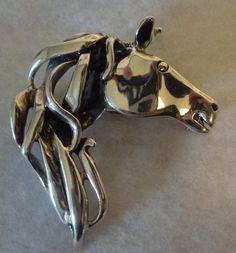 "Silpada 925 Sterling Silver Horse Head Equestrian Pendant Pin Brooch 2"" Retired"