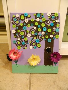 Button Tree painting by InspiredByLevi on Etsy, $18.00